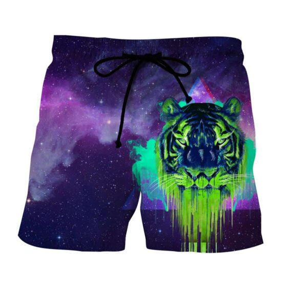 Powerful Tiger Painting Face Galaxy Art Design Shorts