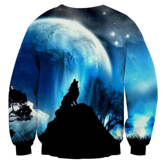 Wolf Howling To The Moon Impressive Silhouette Sweatshirt