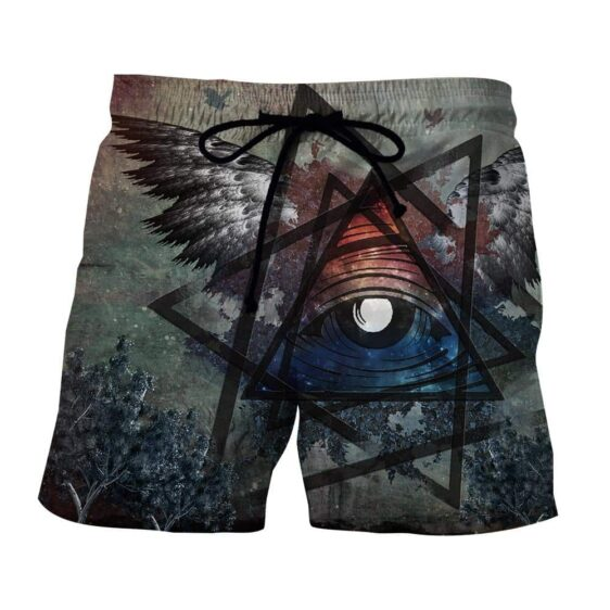Witch Eye In Triangle Bird Wings Forest Art Design Shorts
