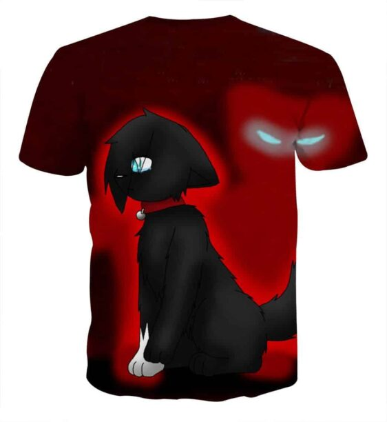 One Eye Cat Cartoon Drawing Scaring Anime Style T-Shirt