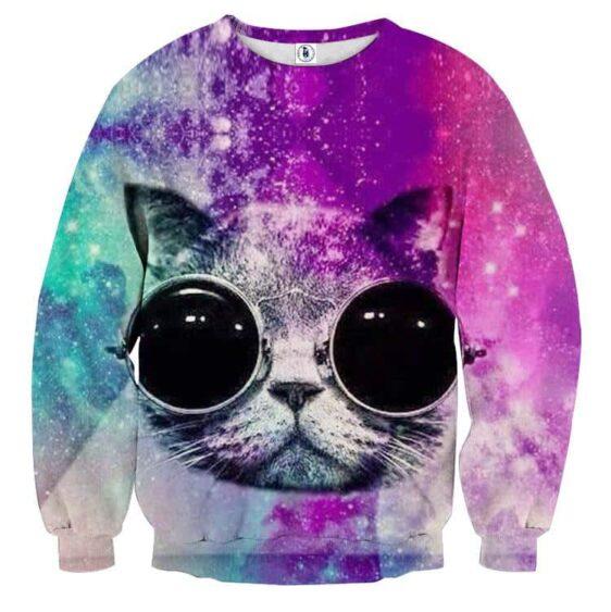 Cool Cat Wearing Black Glasses Purple Color Sweatshirt - Superheroes Gears
