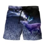 Deer And Thunder In Forest Black and White Art Design Shorts - Superheroes Gears