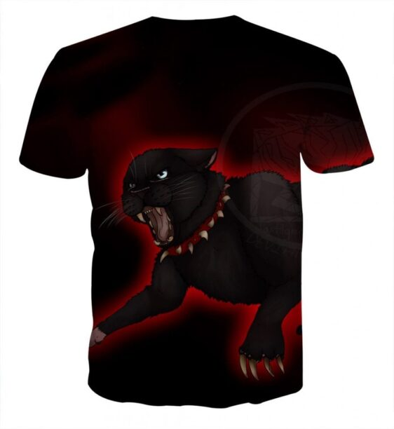 Angry Black Cat Big Claws Amazing Unique Red T-Shirt - Superheroes Gears