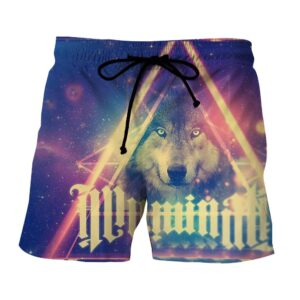 Cold Wolf Triangle Lighten Galaxy Graphic Design Shorts - Superheroes Gears