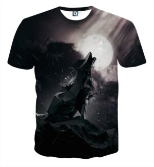 Lonely Wolf Metal Style Dark Design Fantastic Black T-Shirt