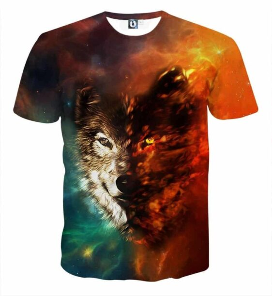 Fierce Looking Wolf Taunting Eyes Fiery Design T-Shirt