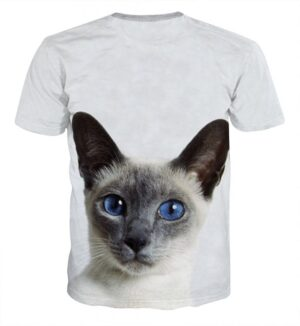 Blue Eye Cat Capturing Simple Art Design Dope T-Shirt - Superheroes Gears