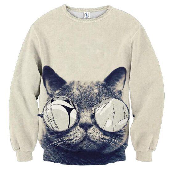 Cat Face Sexy Sunglasses Parody Manga Design Sweatshirt - Superheroes Gears