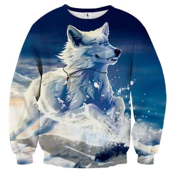 Wolf Wearing Necklace Running On Snow Artistic Sweatshirt