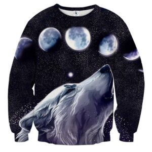 Howling White Wolf Night Sky Lunar Phases Black Sweatshirt