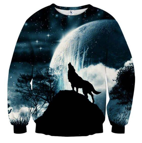 Wolf Silhouette On A Dark Starry Night Stylish Sweatshirt