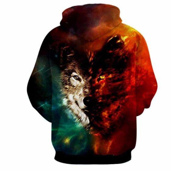 Fierce Looking Wolf Taunting Eyes Fiery Design Hoodie