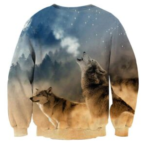 Two Hunting Wolves On A Frosty Forest Stunning Sweatshirt