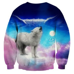 Cute Wolf Full Moon Vibrant Pink And Blue Colors Sweatshirt