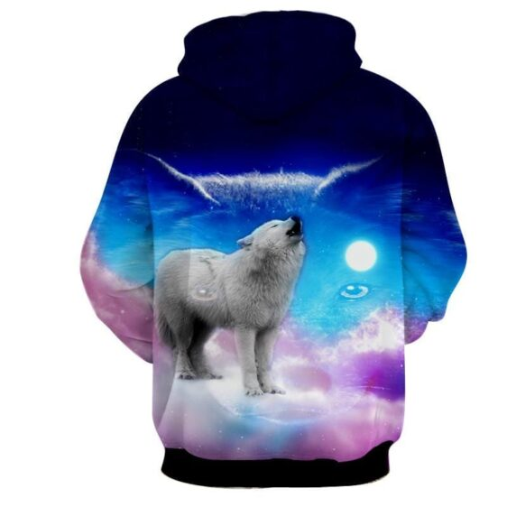 Cute Wolf Full Moon Vibrant Pink And Blue Colors Hoodie
