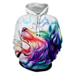 Lovely Wolf Side View Amazing Rainbow Colors Stylish Hoodie