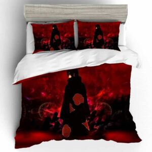 Akatsuki Itachi Uchiha Bloody Red And Black Bedding Set