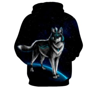 Alpha Wolf Stand Neon Fur Starry Night Magnificient Hoodie