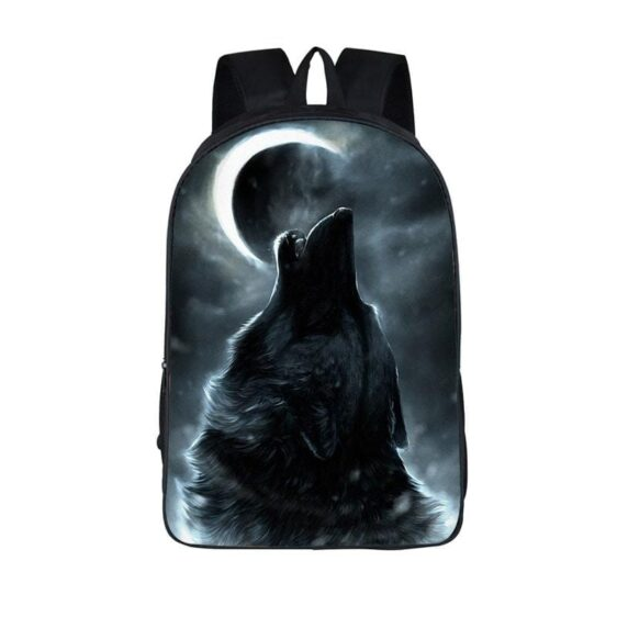 Amusing Lone Wolf Howling under the Moon Gray Backpack
