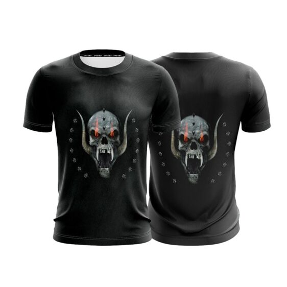 Angry Skull With Behemoth Tusk Unique Black T-Shirt