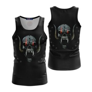 Angry Skull With Behemoth Tusk Unique Black Tank Top