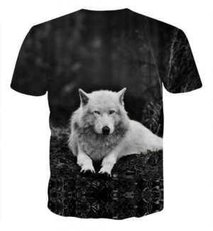 Arctic Wolf Lying Monochrome Photograph Style T-Shirt - Superheroes Gears