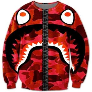 Army Camouflage Military Print Funny Crazy Shark Red Sweatshirt - Superheroes Gears