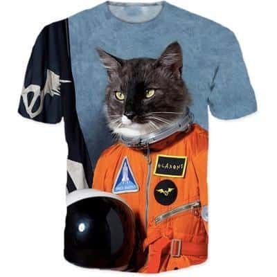Astronaut Cat Space Shuttle Humorous Funny Graphic 3D T-Shirt - Superheroes Gears
