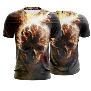 Awesome Scary Skull In Flames Dope Black T-Shirt