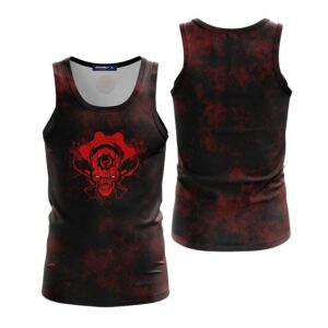 Awesome Smiling Pirate Skull With Guns Black Red Tank Top