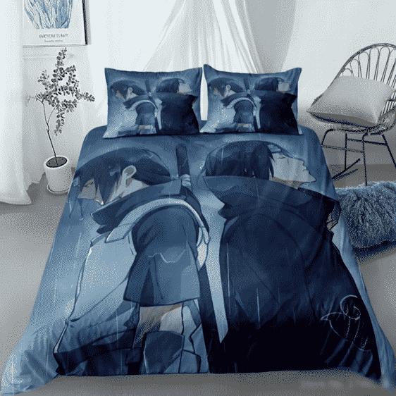 Gloomy Itachi & Sasuke Uchiha Under the Rain Bedding Set