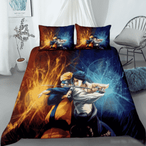 Naruto Uzumaki Vs Sasuke Uchiha Vibrant Fan Art Bedding Set