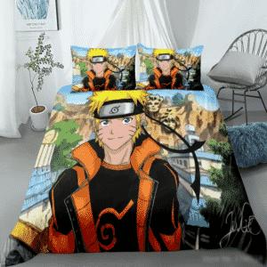 Naruto Uzumaki Konoha Village Background Bedding Set