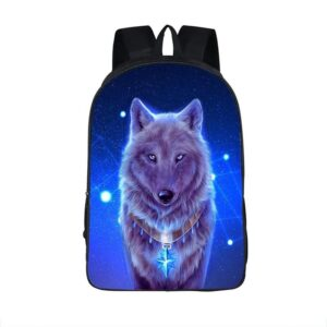 Bewitching Wolf Star Collar Tag Blue Night Cute Backpack
