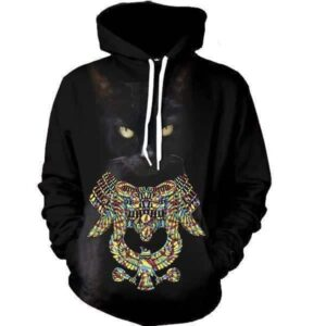 Black Cat Mystery Colorful Eagle Necklace Cool Hoodie - Superheroes Gears