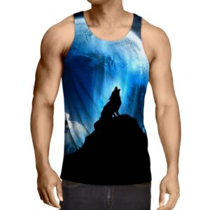 Bright Full Moon Howling Wolf Silhouette Trendy Tank Top