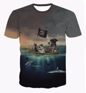 Bulldog and Cats Pirates of the Caribbean Sea One of a Kind T-Shirt - Superheroes Gears