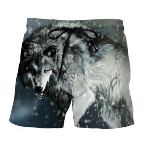 Calm Grey Wolf Snowing Weather Stylish Design Shorts - Superheroes Gears