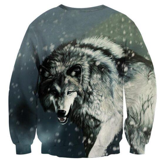 Calm Grey Wolf Snowing Weather Stylish Design Sweatshirt - Superheroes Gears