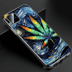 Cannabis Van Gogh Starry Night Inspired Blue iPhone 11 Case