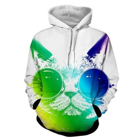 Cat Sunglasses Portrait Colorful Pop Music Art Design Hoodie - Superheroes Gears
