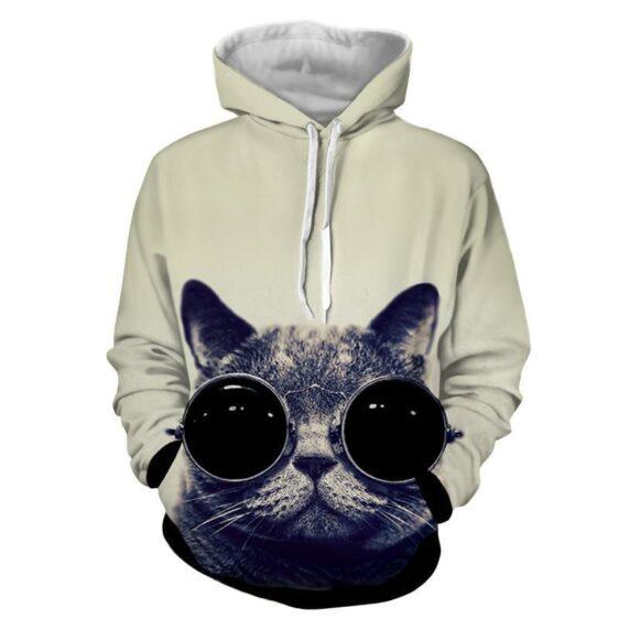 Cat Sunglasses Portrait Monochrome Print Dope Hoodie - Superheroes Gears