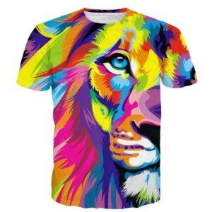Colorful King Lion Streetwear Full Animal Art Print 3D T-shirt - Superheroes Gears