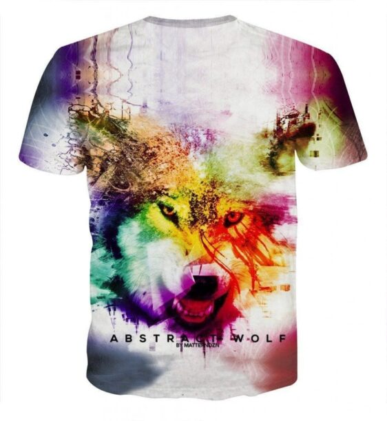 Colorful Wolf Face Portrait Abstract Graphic Drawing T-shirt - Superheroes Gears