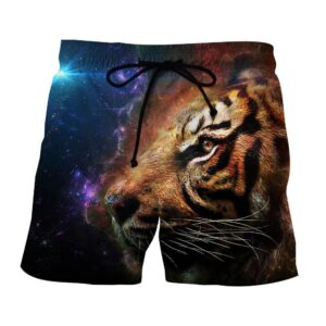 Cool Tiger Face Galaxy Background Colorful Design Shorts - Superheroes Gears