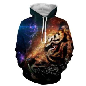 Cool Tiger Face Galaxy Background Colorful Design Hoodie - Superheroes Gears