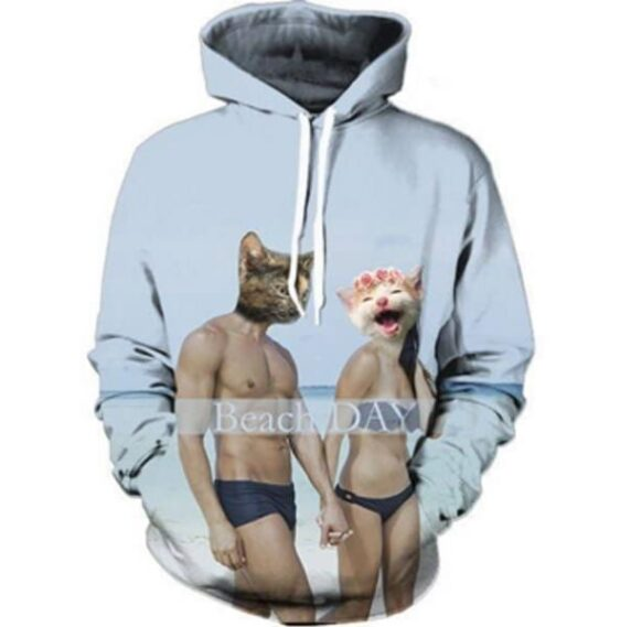 Couple Cat Persons Wearing Bikini Beach Day Unique Style Hoodie - Superheroes Gears