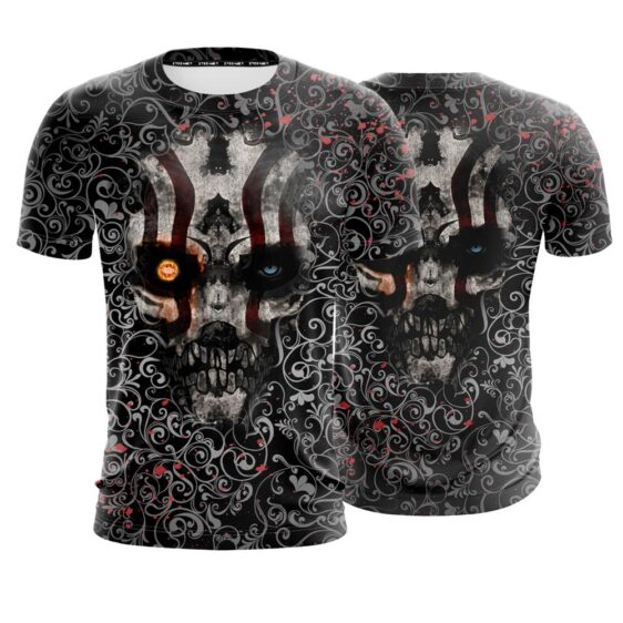Creepy Looking Skull With Red Marks Dope Black T-Shirt