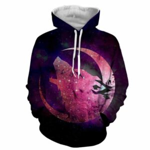 Crescent Moon Wolf Howling Glittery Pink Excellent Hoodie