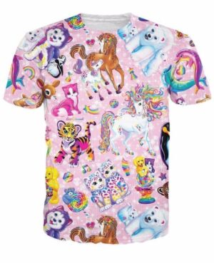 Cute Animals Collection Adorable Pinky Rainbow 3D Full Print T-shirt - Superheroes Gears